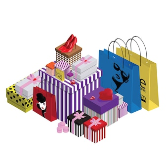 Colorful gift boxes and paper bags on white background.