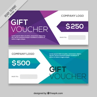 Colorful gift coupons with abstract shapes
