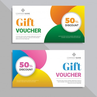 Colorful gift voucher card template design