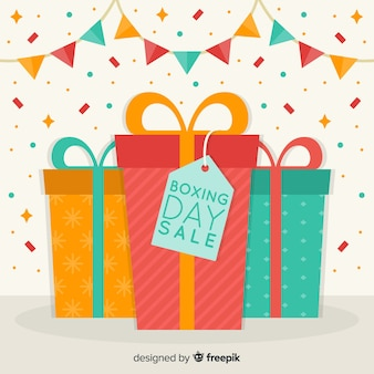 Colorful gifts boxing day sale background