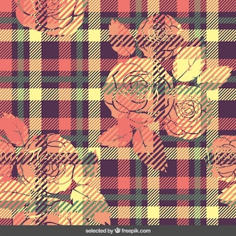 Colorful gingham pattern with flowers