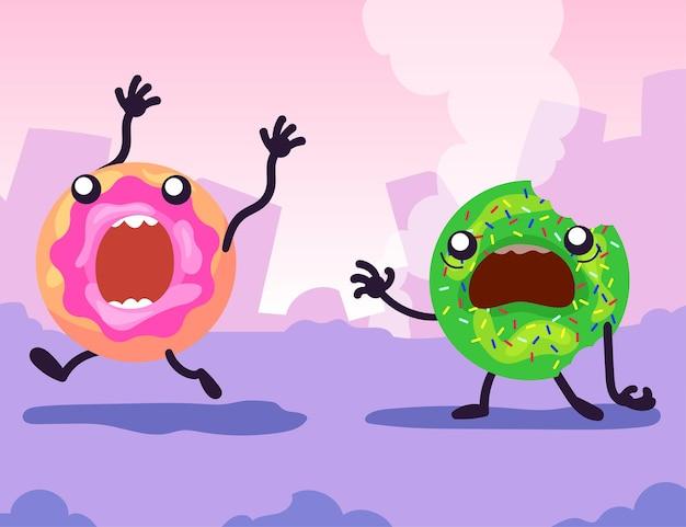Colorful glazed doughnuts running away in panic. cartoon illustration