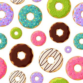 Бесшовный узор красочные глазурованные сладкие пончики на белом фоне. векторная иллюстрация пекарни eps