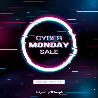Colorful glitch cyber monday