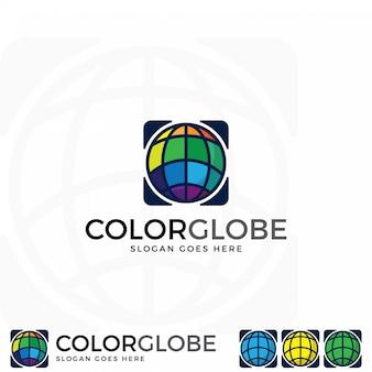 Colorful globe icon vector.