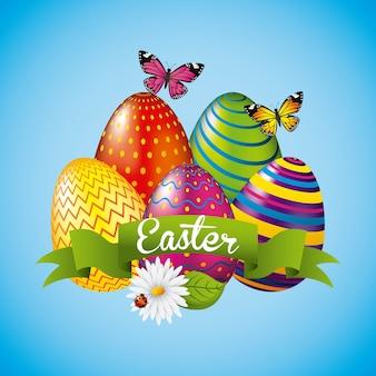 Красочные глянцевые яйца пасхальные бабочки праздник набор