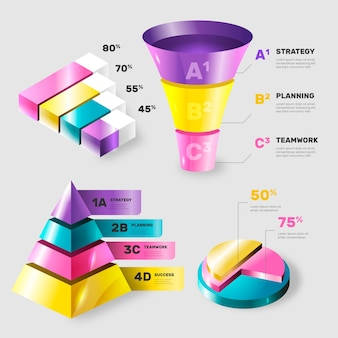 Colorful glossy infographic elements