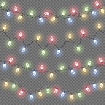 Colorful glow lamp on wire strings glowing lights christmas garland decorations led neon light