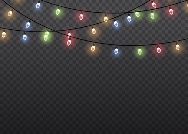 ワイヤーストリングのカラフルなグローライトランプは、透明な背景を分離しました。花輪の装飾。クリスマスライトは、現実的なデザイン要素を分離しました。クリスマスの輝く花輪。図。