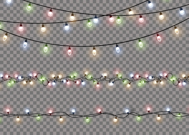 Colorful glow light lamp on wire strings. garlands decorations lights. vector.