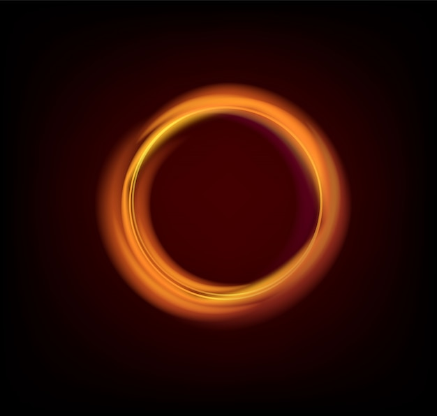 Colorful glowing gold rings abstract black background illustration