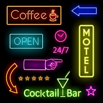 Colorful glowing neon lights graphic designs for cafe and motel signs on black background.