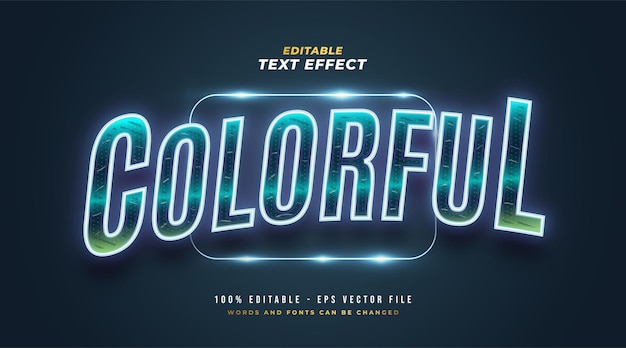 Colorful glowing neon text style effect. editable text style effect