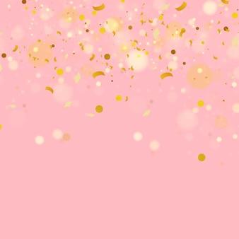落ちる光沢のある紙吹雪のカラフルなゴールドの紙吹雪ベクトル休日イラスト