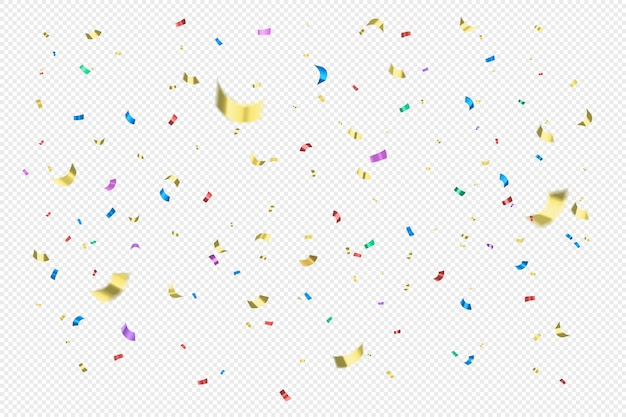 Colorful golden, red, blue sparcles confetti