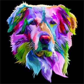 Colorful golden retriever dog on pop art style.