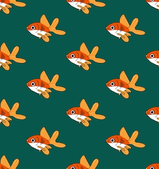 Colorful Goldfish on Green Teal Background