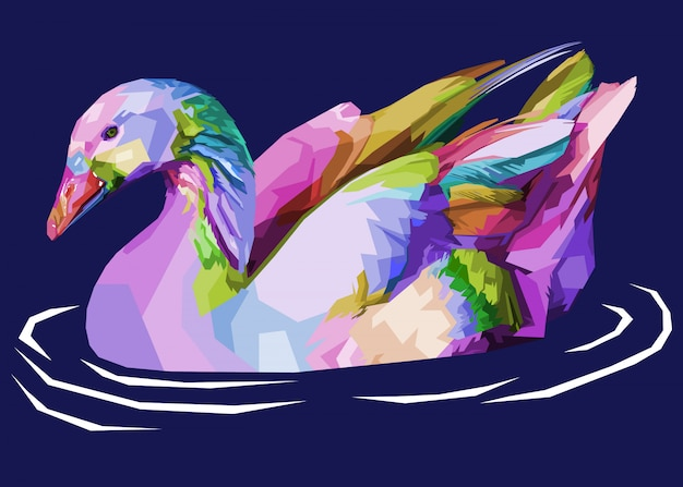 Colorful goose on pop art style