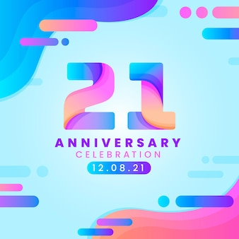 Colorful gradient 21 anniversary background