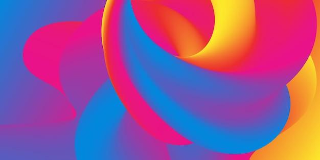 Красочный градиент. 3d жидкая волна. яркий цвет. жидкий фон.