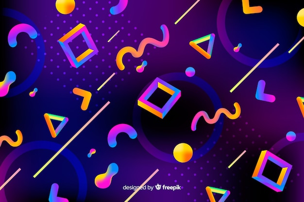 Colorful gradient 3d shapes background