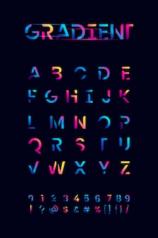Colorful gradient alphabet set