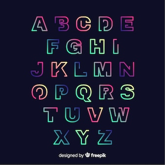 Colorful gradient alphabet template