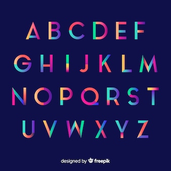 Colorful gradient alphabet template