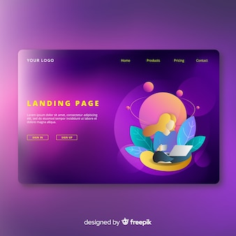 Colorful gradient anding page
