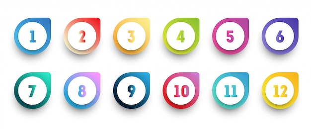 Colorful gradient arrow bullet point icon set with number from 1 to 12.