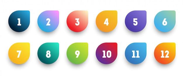 Colorful gradient arrow bullet point set with number from 1 to 12.