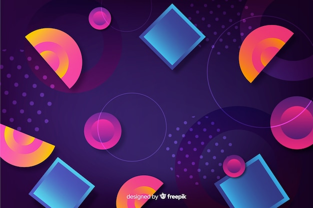 Colorful gradient background with geometric shapes