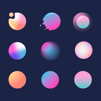Colorful gradient badge set