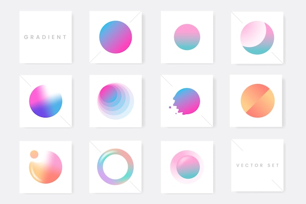 Colorful gradient badge set