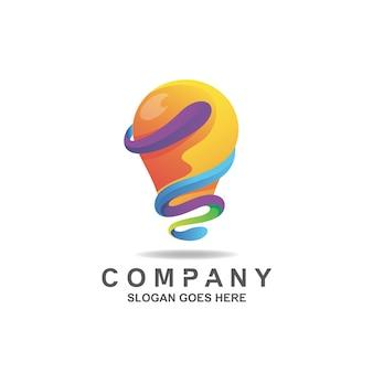 カラフルなグラデーション電球ランプのロゴ