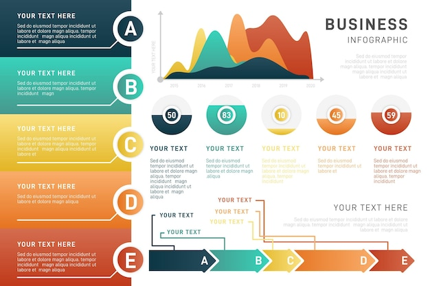 Colorful gradient business infographic