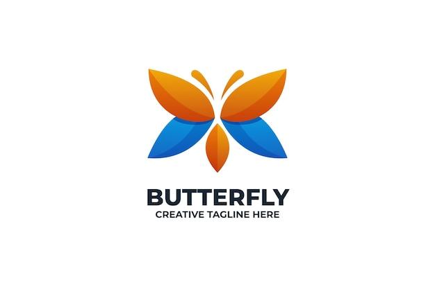 화려한 그라데이션 나비 로고
