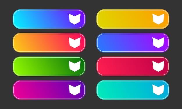 화살표와 함께 다채로운 그라데이션 버튼입니다. 8 현대 추상 웹 버튼의 집합입니다. 벡터 일러스트 레이 션