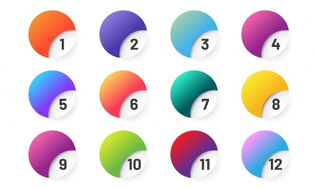 番号付きのカラフルなグラデーションボタン