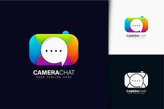 カラフルなグラデーションカメラチャットのロゴデザイン