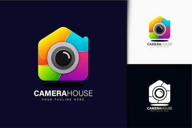 カラフルなグラデーションカメラハウスのロゴデザイン