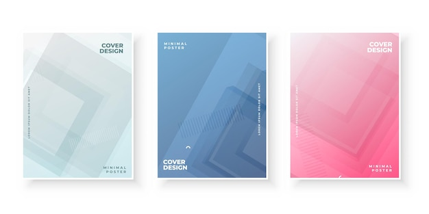 Colorful gradient covers design set for brochure
