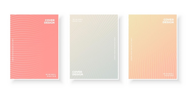 Colorful gradient covers pack with line pattern design set