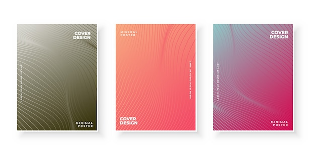 Colorful gradient covers with line pattern set
