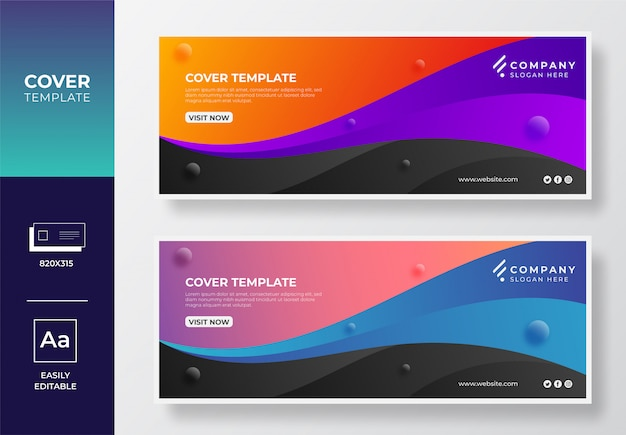 Colorful gradient creative facebook cover and web banner design template