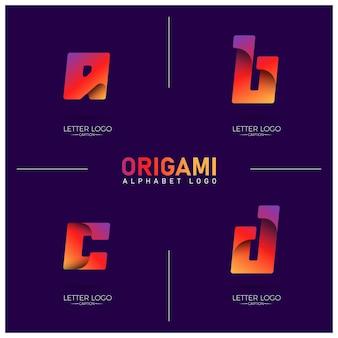 Colorful gradient curvy origami alphabet abcd logos