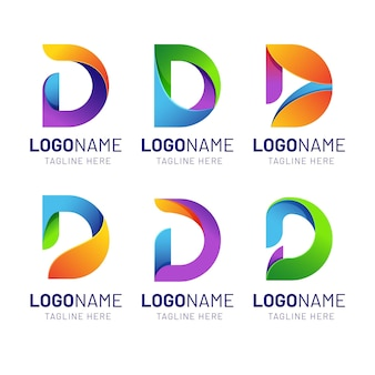 Colorful gradient d logo collection