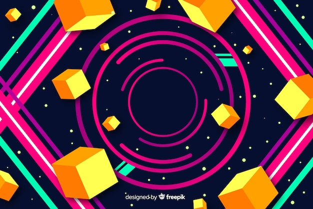 Colorful gradient geometric circular shapes background
