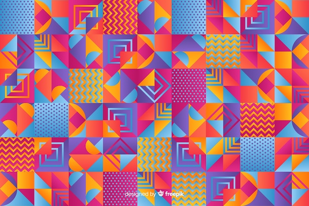 Colorful gradient geometric mosaic background