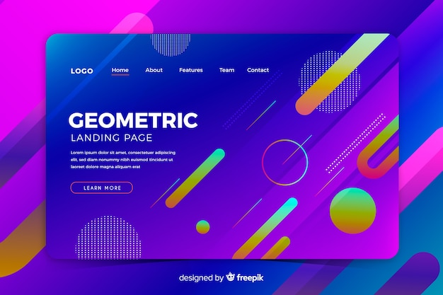 Colorful gradient geometric shapes landing page template
